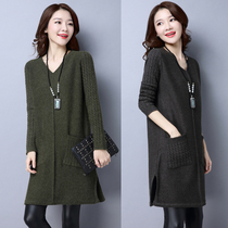 Fall winter wear plus size ladies fat mm220 pounds adding fertilizer to increase long base sweater v neck cashmere dress 5XL