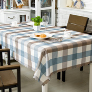 Tablecloth fabric cotton linen style small fresh European waterproof plaid tablecloths Nordic coffee table drape
