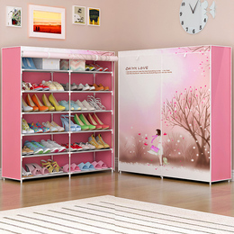 鞋柜鞋架简易多层拉链经济型家用家里人布艺多功能组装防尘省空间
