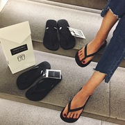 New onedouble black flip flops, women's casual slippers, summer pinch feet, skid flat bottom and beach shoes