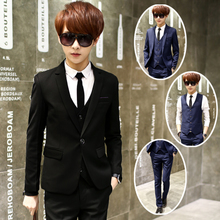 2017 winter suit men three piece slim dress groom groomsman wedding dress tide occupation suit