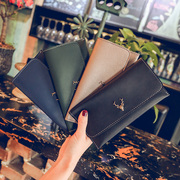 2017 new women's Long Wallet retro minimalist fashion multi card hardware fawn Large Wallet