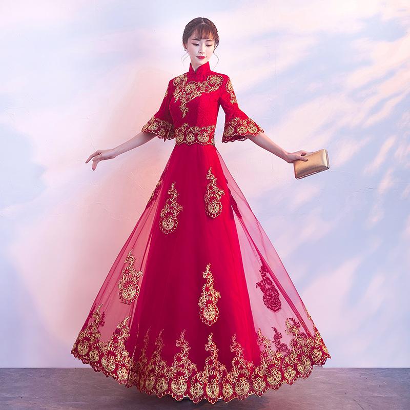 中式敬酒服新娘冬季2017红色结婚新款中国风旗袍长款晚礼服女回门
