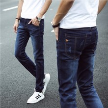 The winter men's jeans pants men with cashmere thickening trend of Korean men's trousers fall winter fluffy feet