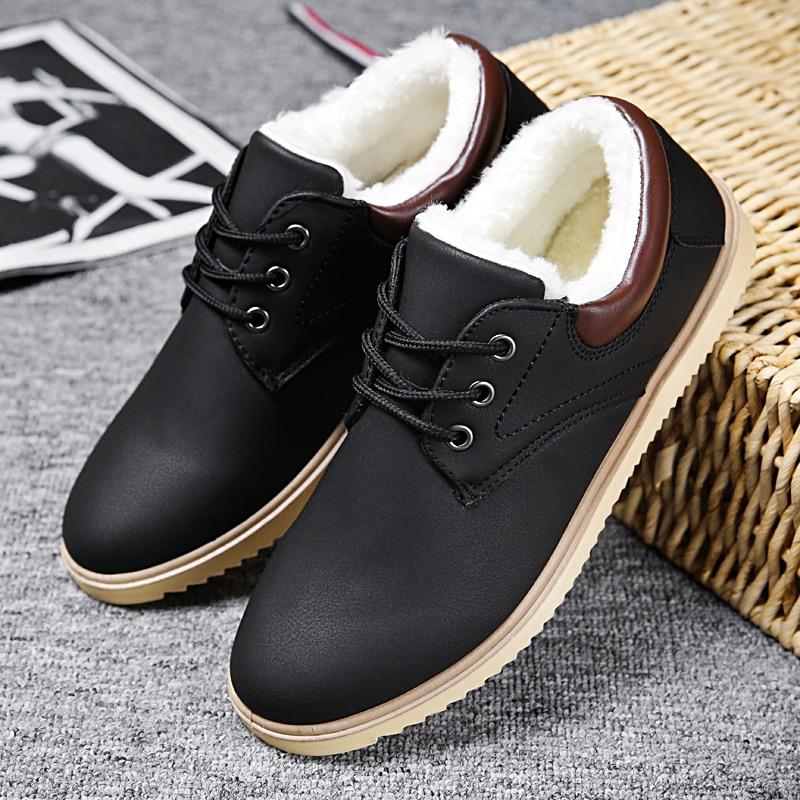冬季男鞋加绒棉鞋男士休闲皮鞋韩版潮流板鞋男冬天防水工作保暖鞋