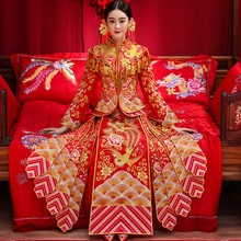 Show 2017 new clothes Wo bride wedding gown dragon costume Chinese style wedding dress show kimono dress toast