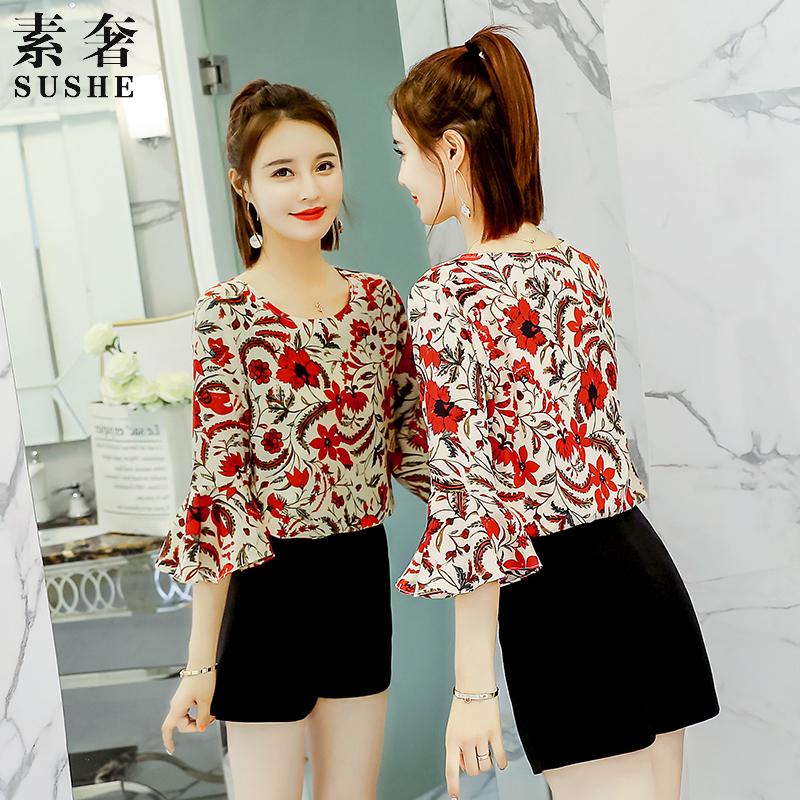 雪纺衫女短袖2019夏装新款韩版女装超仙气质大码上衣碎花洋气小衫