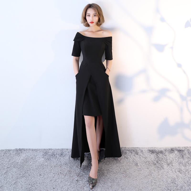 晚礼服女2017新款冬一字肩宴会主持人生日派对长款显瘦年会连衣裙