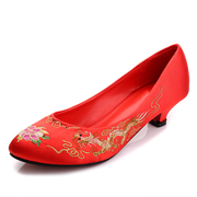 Autumn and winter red wedding bride shoes shoes thick with high heel shoes code of pregnant women with Chinese wedding shoes