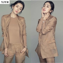 Summer new Yang Mi star with the same paragraph khaki Slim silk small suit summer suit OL suit female