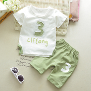 Kids Boys summer 2 set 2017 new babies 1 short sleeved two piece female baby Han Banchao in summer 3