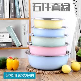 不锈钢盆五件套圆形厨房家用加深加厚盆套装汤盆打蛋和面洗菜盆