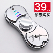 Fingertip gyro rechargeable lighter electronic creative colorful lamp lighter personality man sent her adult lettering
