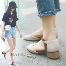 2018 spring new Mary Jane shoes Korean version of the retro grandmother shoes with a thick Word buckle shallow mouth shoes