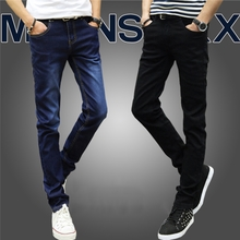 The elastic velvet jeans men fall slim Pants Black casual pants male Korean winter long trend