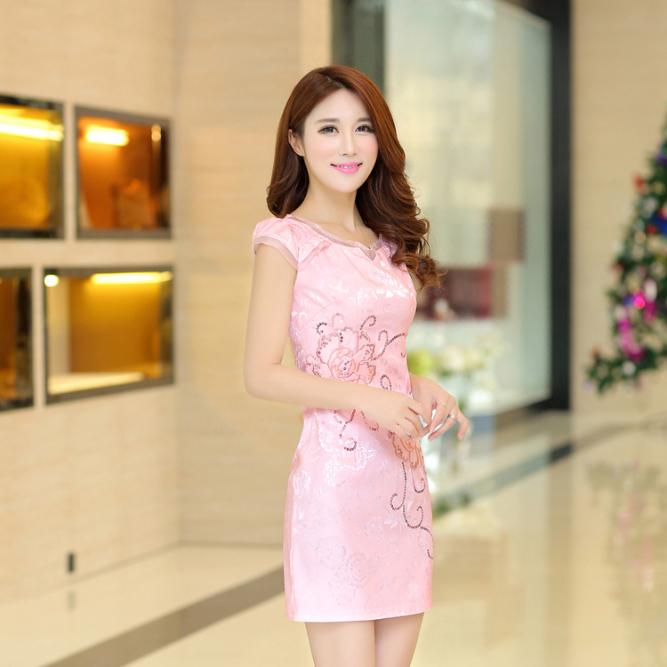The new daily improved short skirt in summer dress cheongsam show thin waist step slim skirt dress bag hip skirt