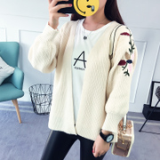 2017 fall fashion embroidery sweater cardigan female Korean short long sleeved baggy sweater coat thin shawl