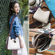 Color bucket bag bag scarf 2017 new female Korean all-match fashion portable Satchel Bag