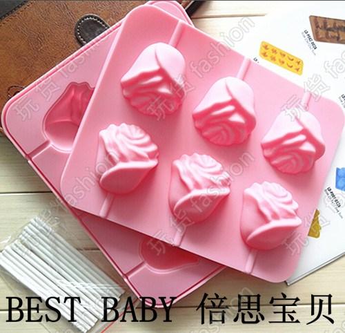 创意包邮6连3D玫瑰花棒棒糖水果冰激凌雪糕冰棒冰块硅胶蛋糕立体
