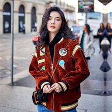 Red brown short plush badge embroidery jacket winter 2017 new female Korean baseball uniform thick warm tide