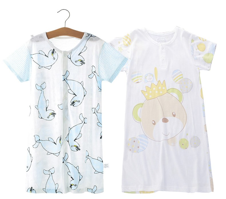 Children baby nightdress bamboo fiber short sleeved robe baby sleep clothes summer thin section of air conditioning room