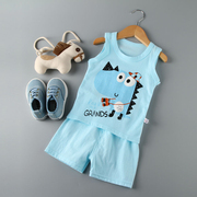 2017 Summer new children T-shirt set Korean cotton boys and girls vest shorts Baby two sets