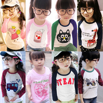 Childrens long sleeve t-shirt spring loaded childrens clothing baby girls boys play shirts at the end of the autumn Raglan Sleeve Shirt cotton