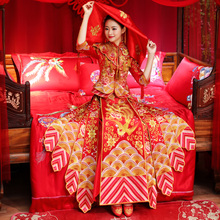 show Wo clothing 2018 new marriage bride gown embroidered summer clothes wedding dress toast wedding dress show kimono