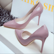 2017 spring and autumn new nude pointed shoes sexy stilettos shallow mouth leather shoes ol occupation Princess