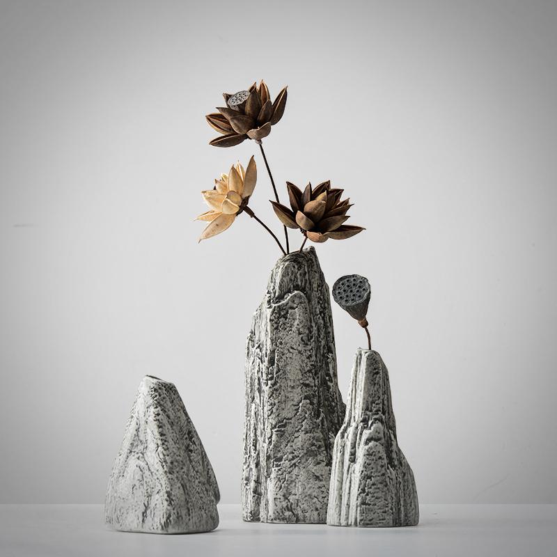 新中式创意家居假山仿石陶瓷摆件艺术插花花器玄关装饰软装摆设品