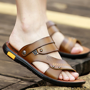 Summer Leather Sandals Male Korean version trend casual beach shoes men wear and non-slip waterproof leather sandals Men's Slippers