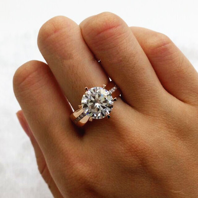 18K rose gold 1 carat 3 carat diamond ring 5 carat Moissanite Ring Platinum Ring married female fashion atmosphere