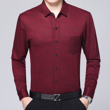 Double mercerized cotton wedding father put spring thin business casual shirt long sleeved shirt and a middle-aged man
