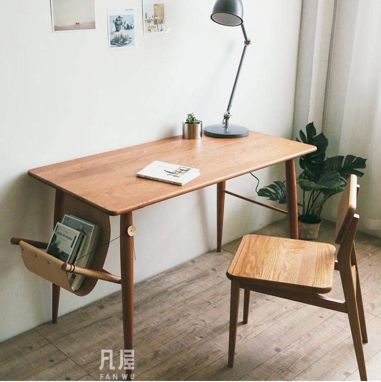 [凡屋/伦敦桥书桌]原创网红家具北欧实木樱桃木黑胡桃电脑桌子