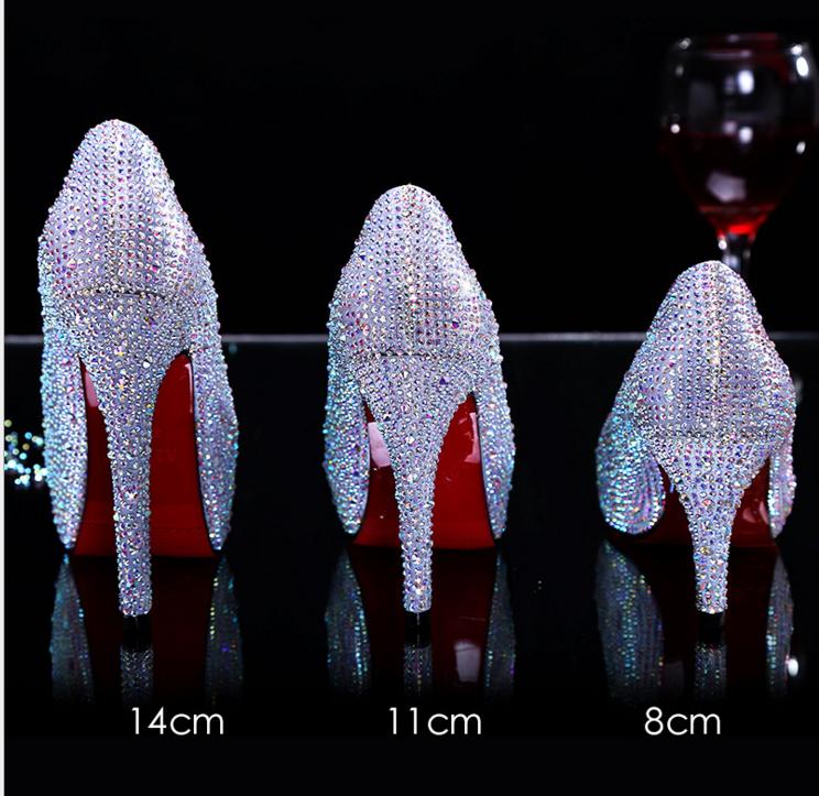 红色新娘鞋结婚鞋女水钻礼服单鞋防水台银色婚礼高跟鞋细跟水晶鞋