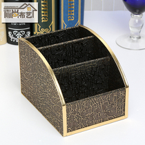 (Daily specials) high-grade leather art leather grain storage box storage box storage basket rack cell phone remote control storage basket