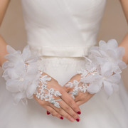 Korean bride Gloves WHITE wedding gauze lace embroidery refers to nail bead Wedding Gloves