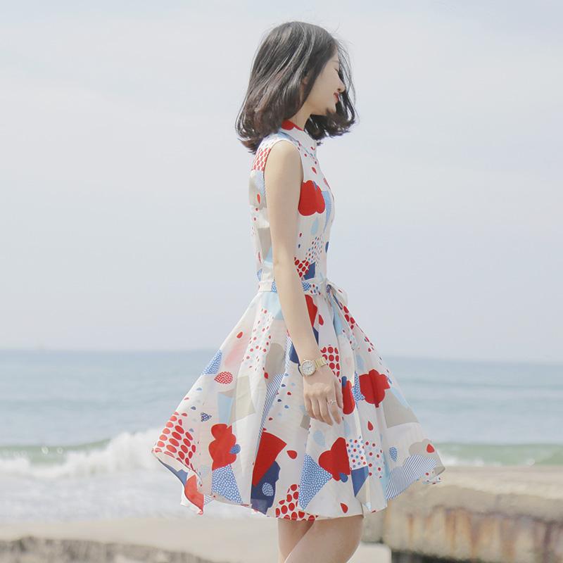 大喜自制 春新款 原创文艺气质几何雨滴无袖修身连衣裙中长款