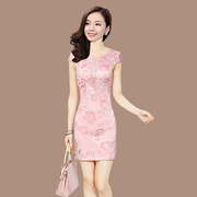 2017 new summer dress cheongsam fashion retro short slim dress daily improved thin temperament code