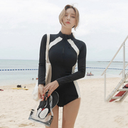 South Korea's new long-sleeved quick-drying wetsuit swimsuit women sunscreen jellyfish slim slim snorkeling surf clothing