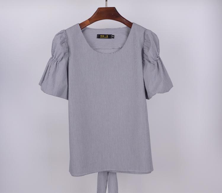 一仆二主花儿与少年3江疏影同款条纹短袖衬衫 学院甜美系带上衣棉