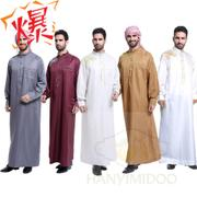 Middle East Saudi Arabia Muslim men's robe in Ningxia Hui, Xinjiang long sleeves stand collar embroidered moved