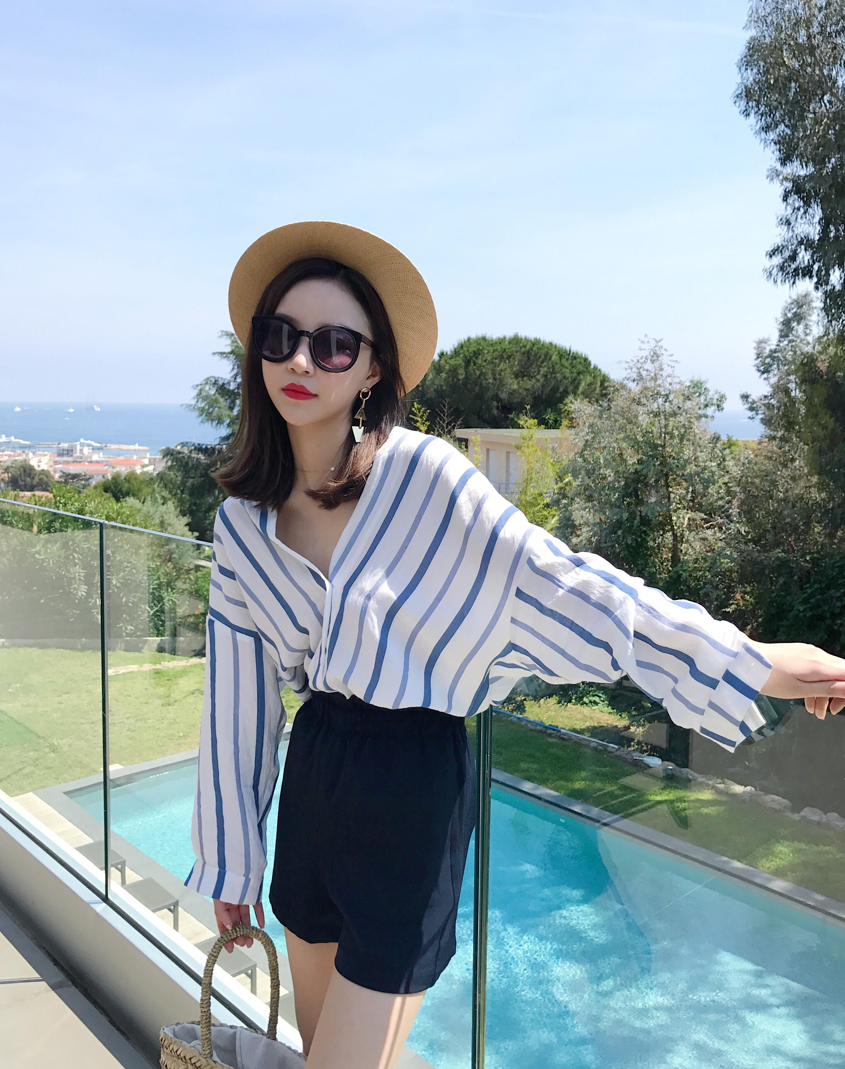 钱夫人CHINSTUDIO定制 韩版新款宽松v领条纹长袖衬衫女学生上衣潮