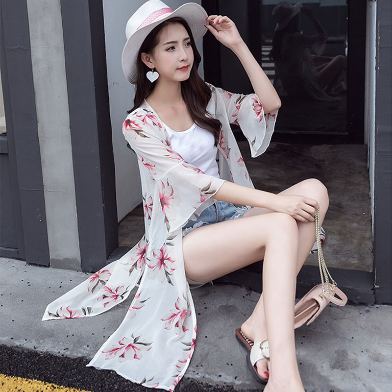 Sunscreen clothing long 2017 summer new Korean girls all-match trumpet Sleeve Chiffon shirt shawl thin coat conditioning
