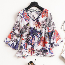 Elegant silk printed shirt sleeve female all-match European summer wear lace collar stand on both sides of the V falbala small shirt