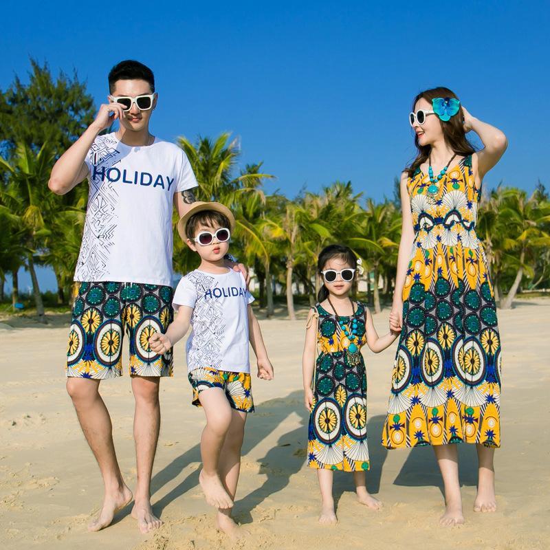 亲子套装女夏2019新款三亚巴厘岛全家装沙滩裙海边度假显瘦连衣裙