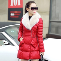2016 winter new style PU leather coat womens long thick down comforters in the Korean version of the slim jacket cotton coat tide