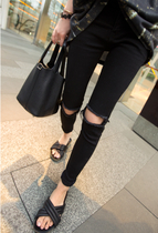 South Koreas purchase of autumn high waist knee ripped jeans womens black feet nine pants pants plus size slimming tide