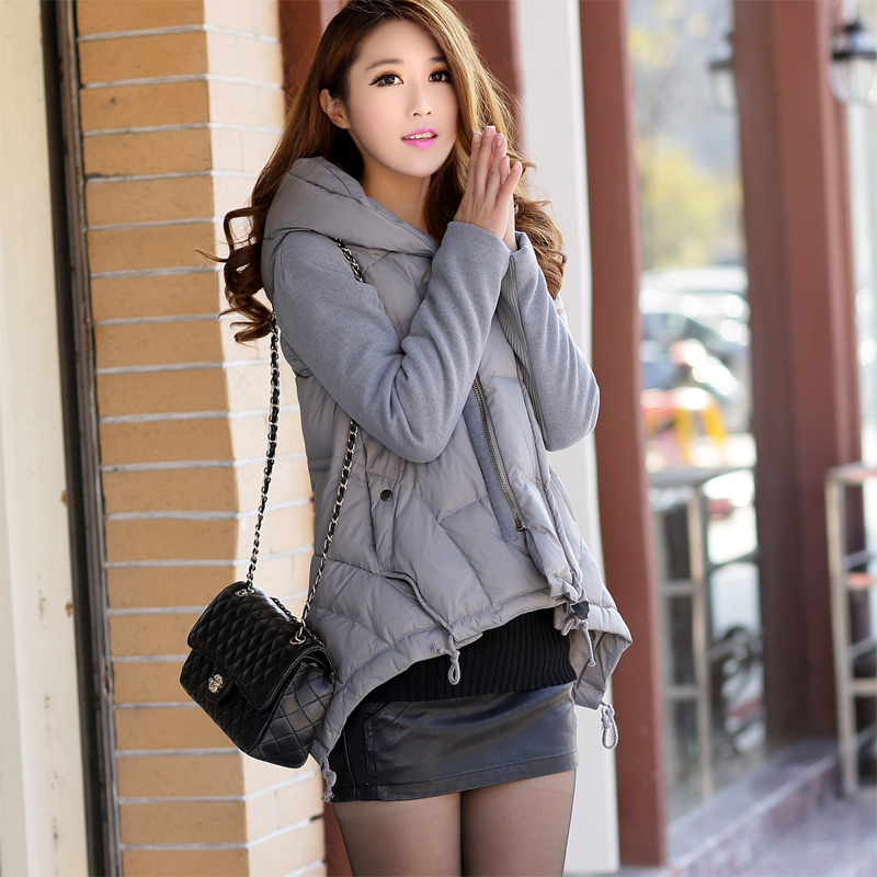 The new winter 2016 A word with short down jacket han edition cultivate one's morality splicing big yards cloak thickening coat