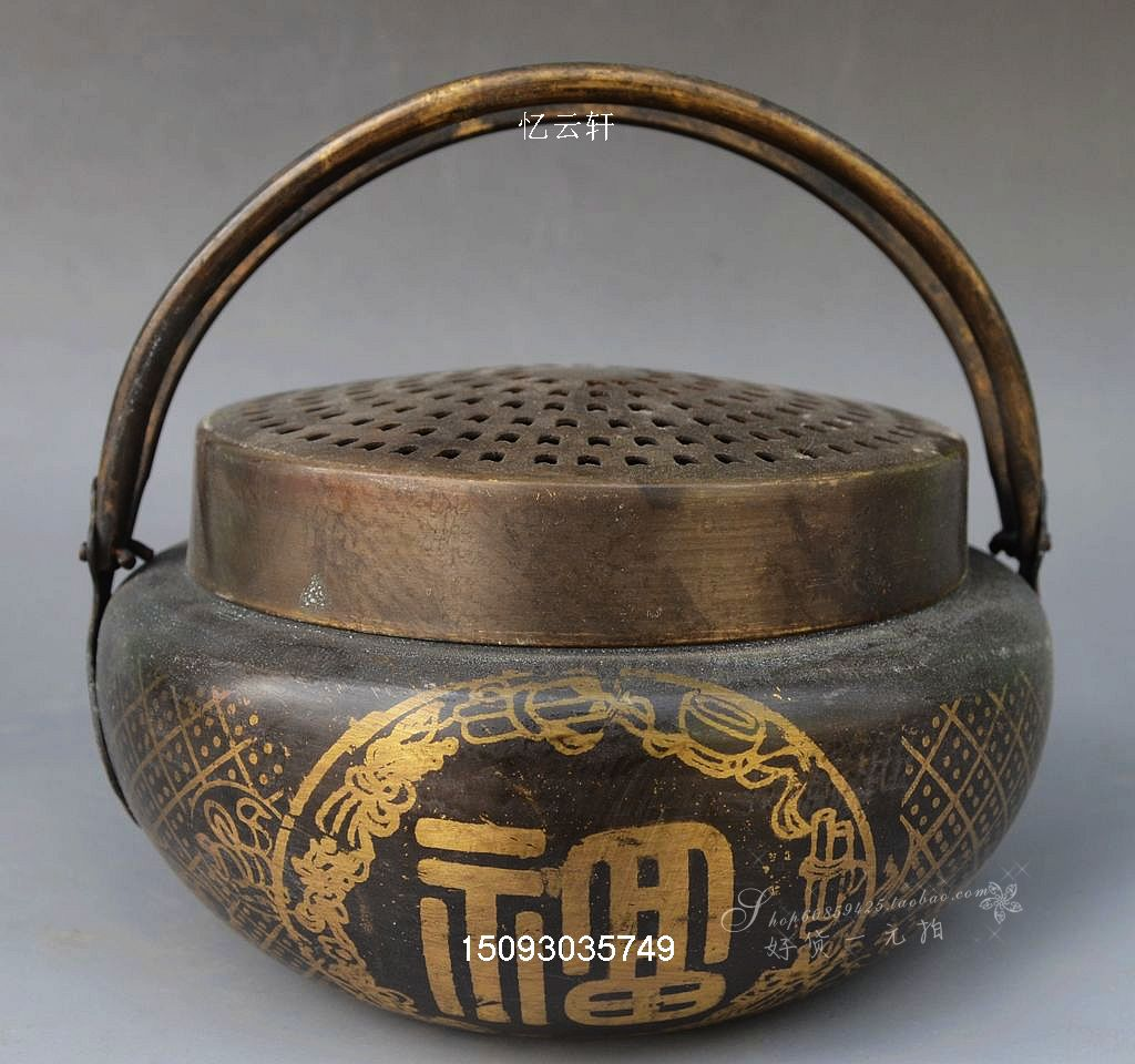 The bronze collection copper craft gift Xianhe Fu hand warmer charcoal stove portable hand warmer winter hand warmer